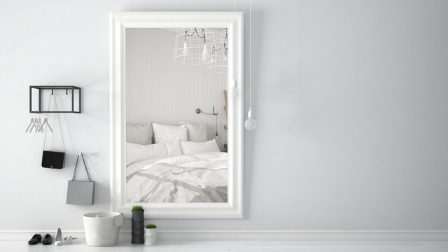 Scandinavian entrance lobby hall with mirror reflecting bright bedroom with bed and ceiling lamps, minimalist white interior design