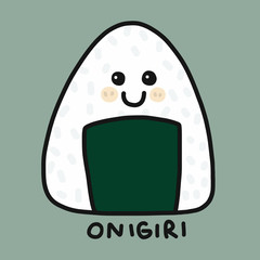Onigiri (Japanese food)  cartoon vector illustration doodle style