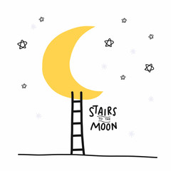 Stairs to the moon cartoon vector illustration doodle style