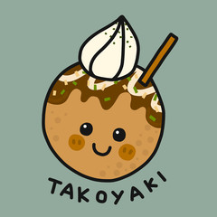 Takoyaki (Japanese food)  cartoon vector illustration doodle style