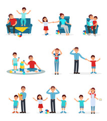 Tired parents and their children set, exhausted parents playing, reading and caring for their children vector Illustrations on a white background