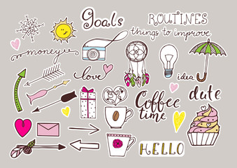 Hand drawn color stickers set for notebook or bullet journal