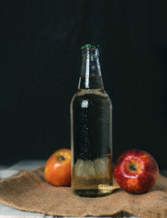 Alcoholic Apple cider in glass bottle