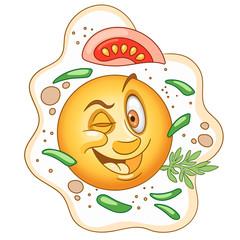 Cartoon Funny Fried Egg, Omelet