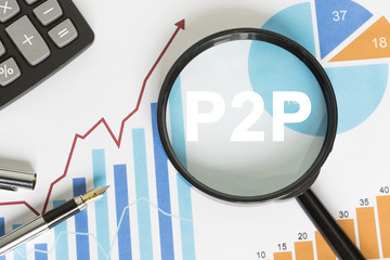 Businessman search button p2p Peer-to-peer magnifier graph loupe.