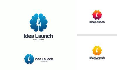 Launch Idea logo designs concept, Fast Brain logo template, Brain Icon