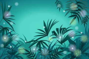 Night  jungle background with space for text.