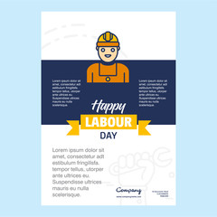 Happy Labour day design with yellow and blue theme vector with hardware tool logo vector