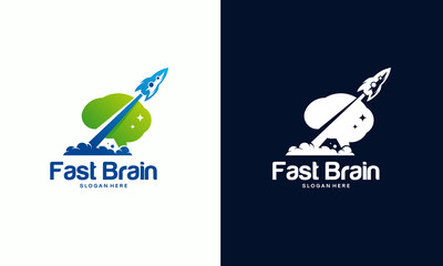 Launch Idea logo designs concept, Fast Brain logo template, Brain Icon