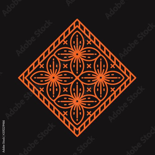 flower geometric art deco logo template vector illustration stock