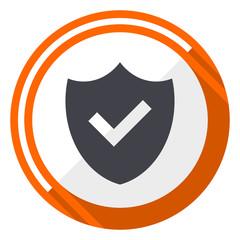 Shield flat design orange round vector icon in eps 10