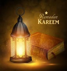 Islamic religious bookand lantern