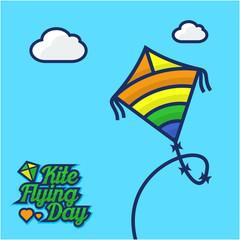 Flying kite day vector illustration