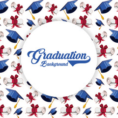 graduation card with hat and diploma pattern vector illustration design