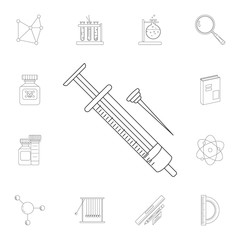 Syringe icon. Detailed set of Science and lab illustrations. Premium quality graphic design icon. One of the collection icons for websites, web design, mobile app