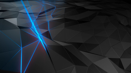 3D rendering abstract polygonal space low poly with connecting surface. Futuristic HUD background