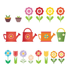Set of vector flowers, pots and water cans, isolated