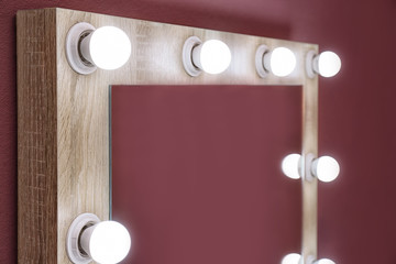 Beautiful mirror in modern makeup room, closeup