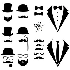 Men's tuxedo. Mustache, glasses, beard, pipe and top hat.