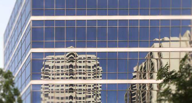 Office building reflections, Downtown Albuquerque, New Mexico. Early evening in springtime.
