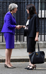 Britain's Prime Minister Theresa May welcomes New Zealand's Prime Minister Jacinda Ardern to 10 Downing Street in London