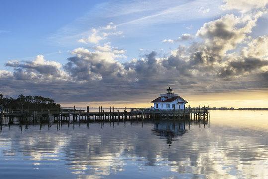 Roanoke Marshes Lighthouse at Sunrise with Dramatic Sky - Manteo, North Carolina