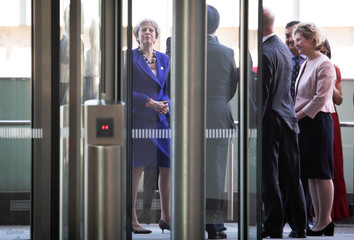 Britain's Prime Minister Theresa May arrives to visit the Francis Crick Institute with India's Prime Minister Narendra Modi in London