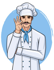 "Vector cartoon style illustration of a handsome young man in cook uniform. Chef with mustache show ""ok"" sign"