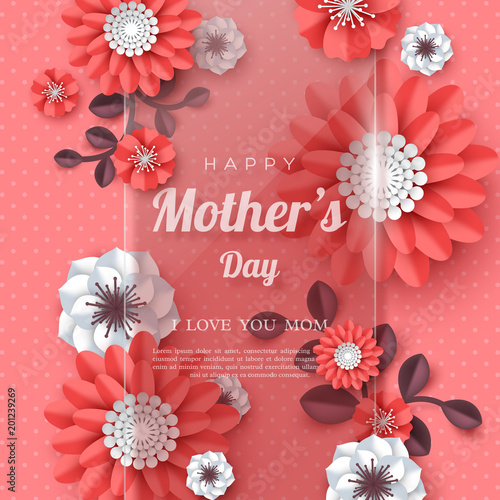 Happy mothers day greeting card paper cut flowers with glossy happy mothers day greeting card paper cut flowers with glossy banner holiday background m4hsunfo