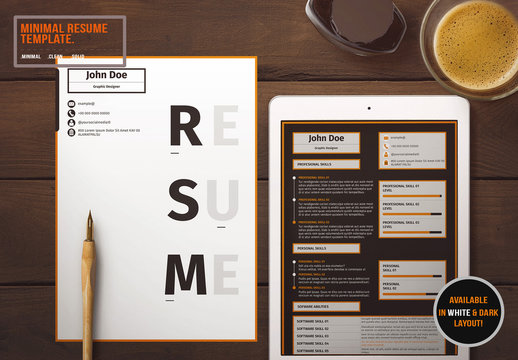 Resume Layout with Orange And Grey Accents
