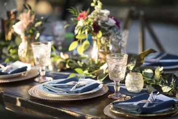 Vintage table setup for outdoor wedding reception. Wall mural