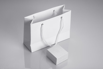 White Paper Bag and Jewelry Box for Mockups