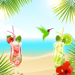 Tropical Background with Cocktails
