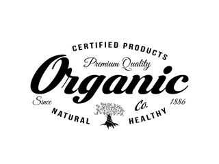 Organic natural and healthy farm fresh food retro emblem