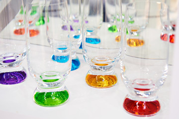 Glasses of colored glass