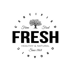 Organic natural and healthy farm fresh food retro emblem