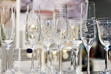 Wine glasses for wine and champagne