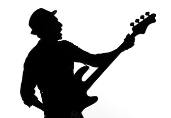 bass player shape on white