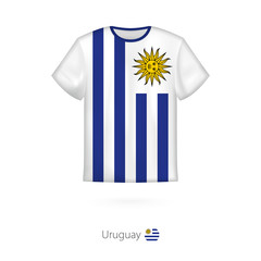 T-shirt design with flag of Uruguay.