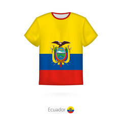 T-shirt design with flag of Ecuador.