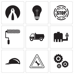 Set Of 9 simple editable icons such as settings, wrench, header, tipper, truck, roller, stop, bulb, flat plyer