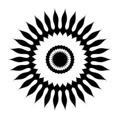 Vector flor de girasol en color negro y espacio libre en blanco.