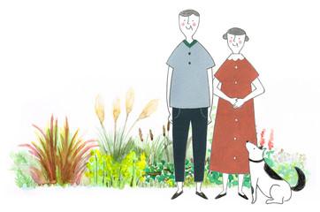 ペットと散歩する老夫婦