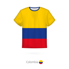 T-shirt design with flag of Colombia.