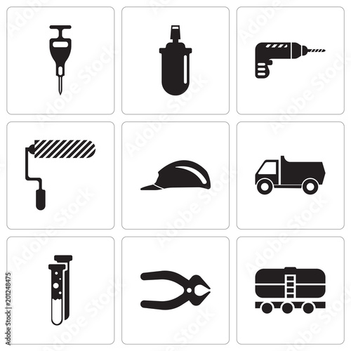 Set Of 9 simple editable icons such as train, nipper, capsule, truck