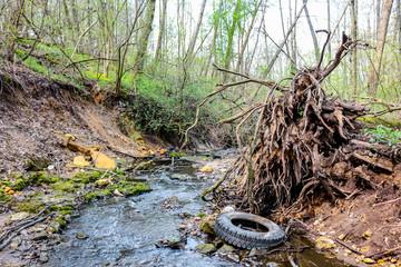 Car tire in a creek in a ravine