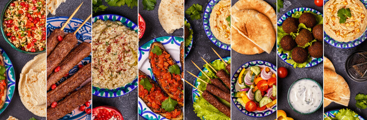 Collage of traditional middle eastern or arab dish Wall mural