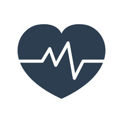 Heartbeat icon on white background.