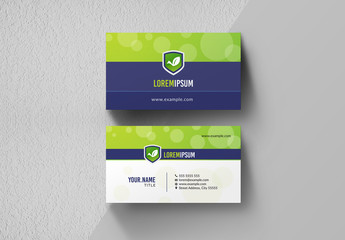 Purple and Green Business Card Layout
