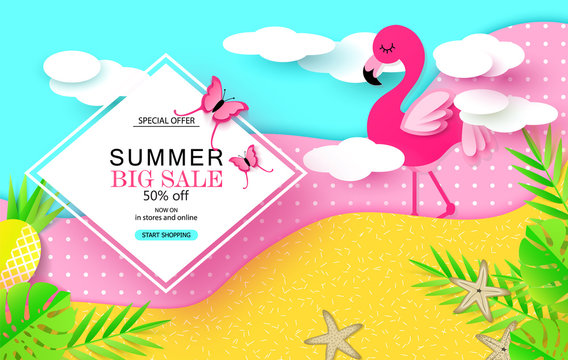 Summer Big Sale banner with Sweet pink flamingo,tropical plants, pineapple,starfish, butterflies and clouds. Paper Art. Vector illustration